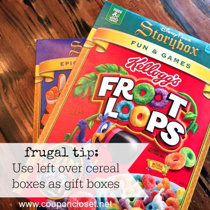 frugal tip - use cereal boxes at gift boxes