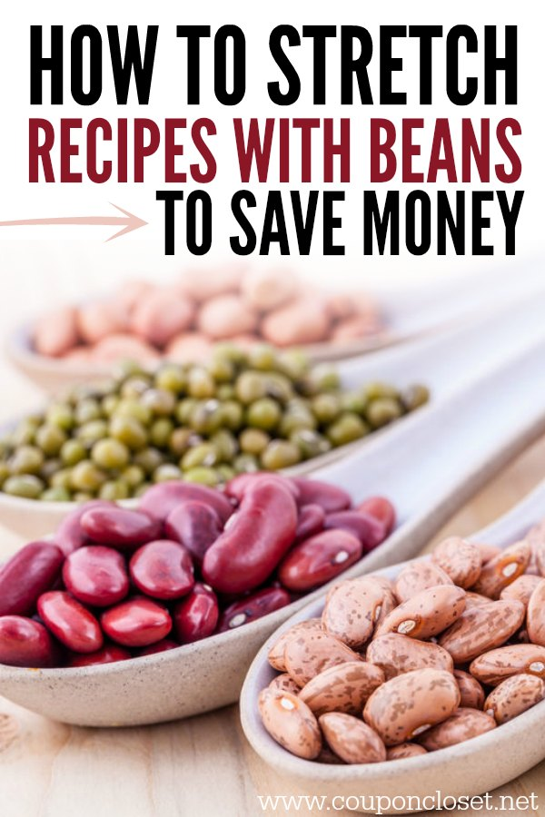 Easy way to save money - stretch your meals with beans. Here are recipes with beans to help you save money and stretch your budget.