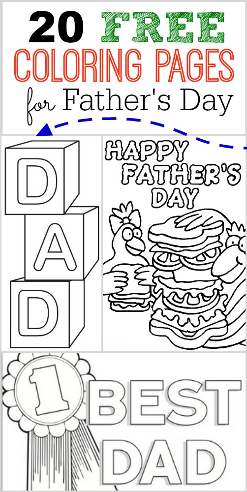 20 FREE Father's Day Coloring Pages - One Crazy Mom