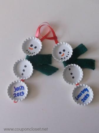 bottlecap snow man ornament