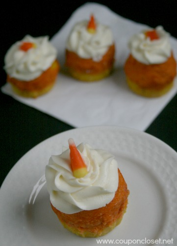 candy corn cupcakes close