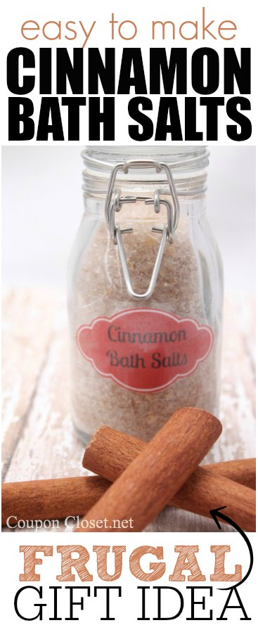 how to make this frugal gift idea - homemade cinnamon bath salts