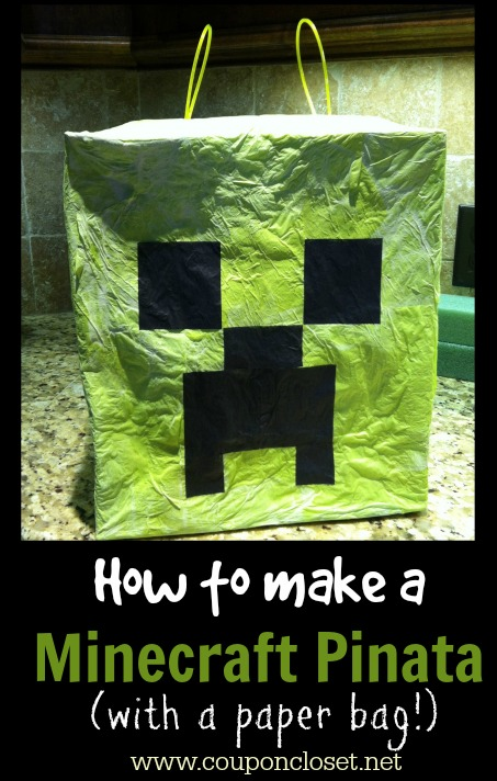 how to make a Minecraft pinata with a paper bag