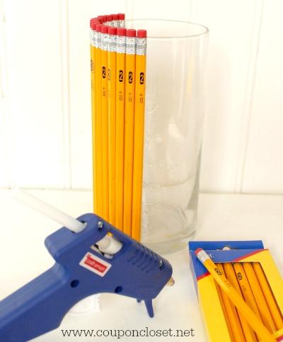 pencil vase how to glue