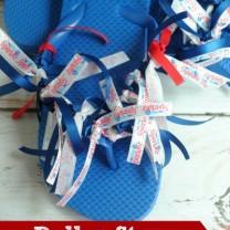 Dollar Store Patriotic Ribbon Flip Flops