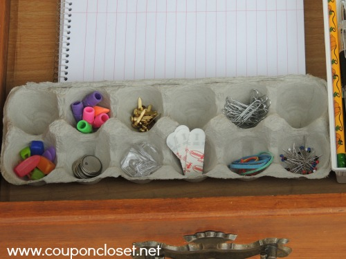 egg carton - desk organization