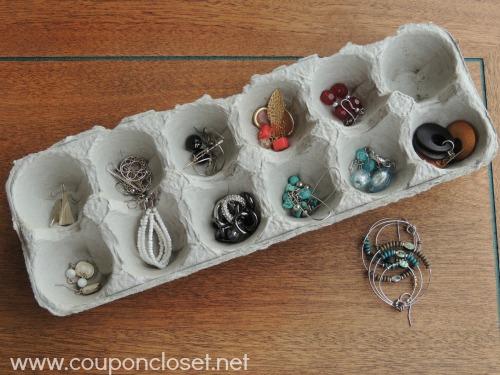 egg carton sorting earrings