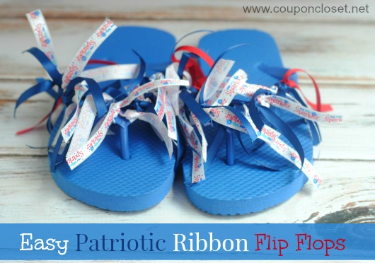 These Patriotic Flip Flops can me made for under $5 and for under 20 minutes! They are one of my favorite 4th of July crafts, because the kids can make them all on their own!