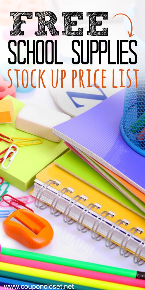 Back to school supplies list. Back to school supplies stock up price list. Know the best school supplies prices with this free printable.