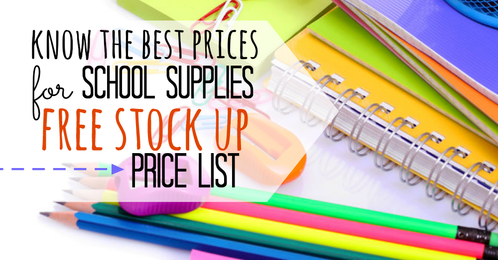 Back to school supplies list. Back to school supplies stock up price list. know the best school supplies prices with this free printable. Never pay too much with this school supplies list.