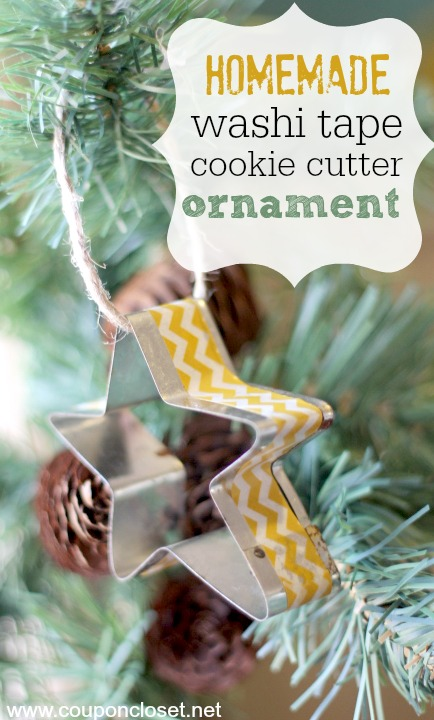 homemade washi tape cookie cutter ornament