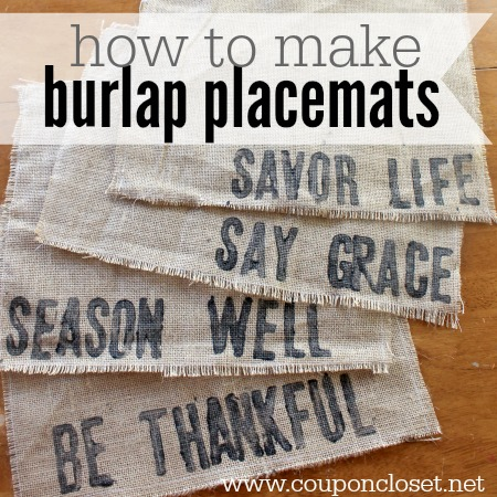 how to make burlap placemats with very few items