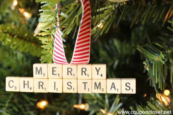 merry christmas scrabble ornament