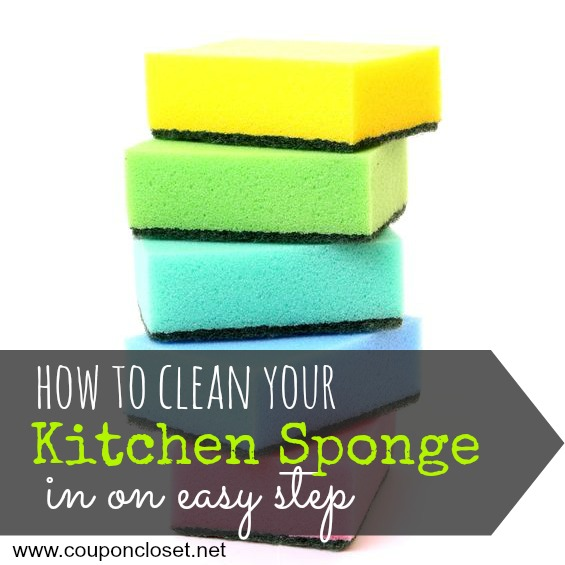 how to clean kitchen sponge - square