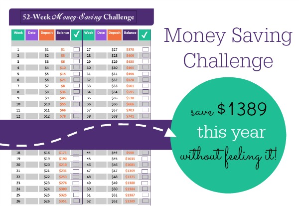 52 Week Money Saving Challenge - Save $1389 without even ...