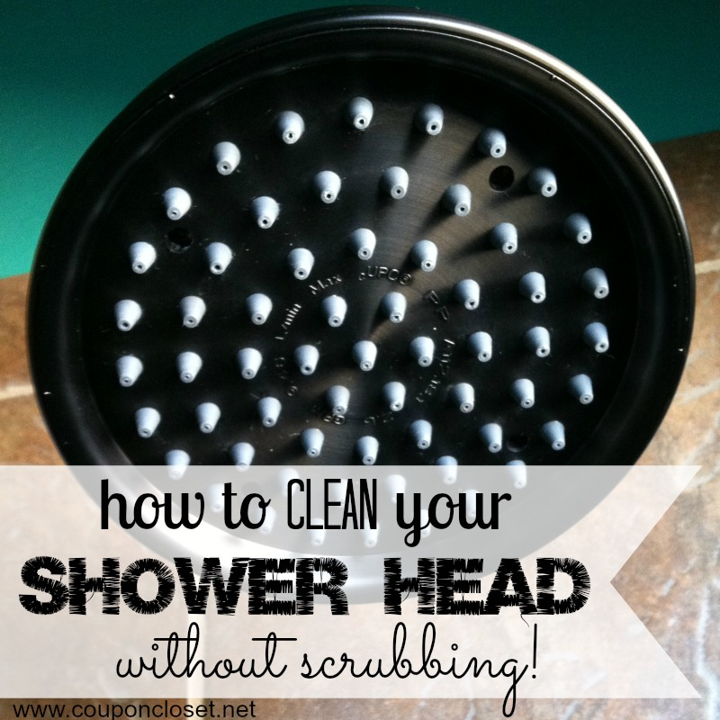 clean shower head without scrubbing - square