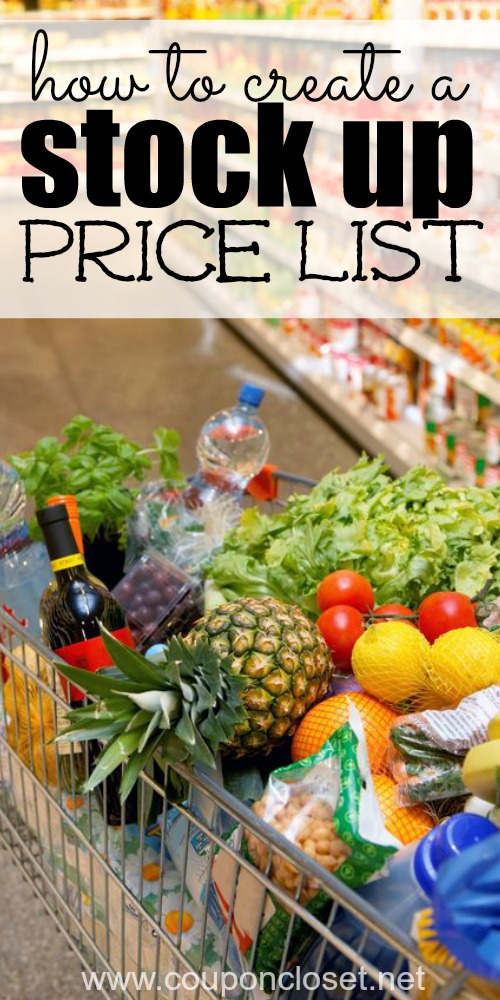 how to create a stock up price list