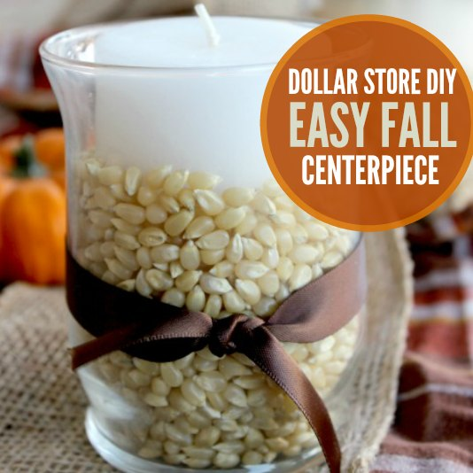 Looking for a Thanksgiving Decoration Idea? This dollar store DIY thanksgiving dinner centerpiece is easy. Table decorations for Thanksgiving are easy with this simple Fall centerpiece.