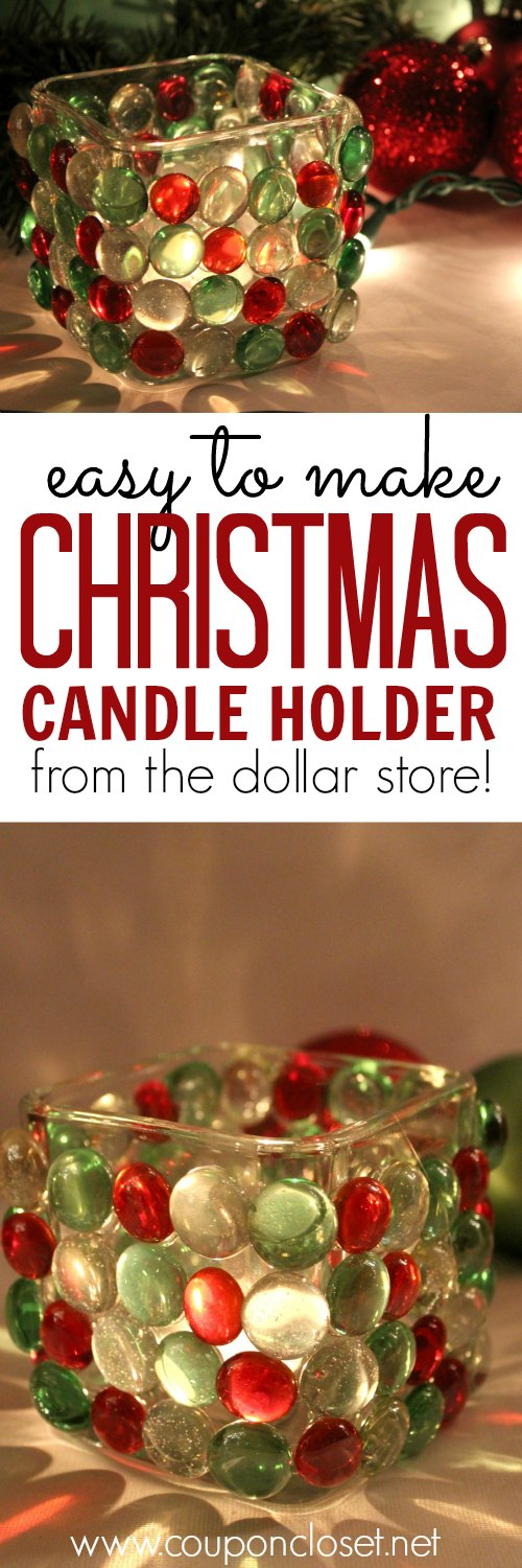 dollar store christmas candle holder