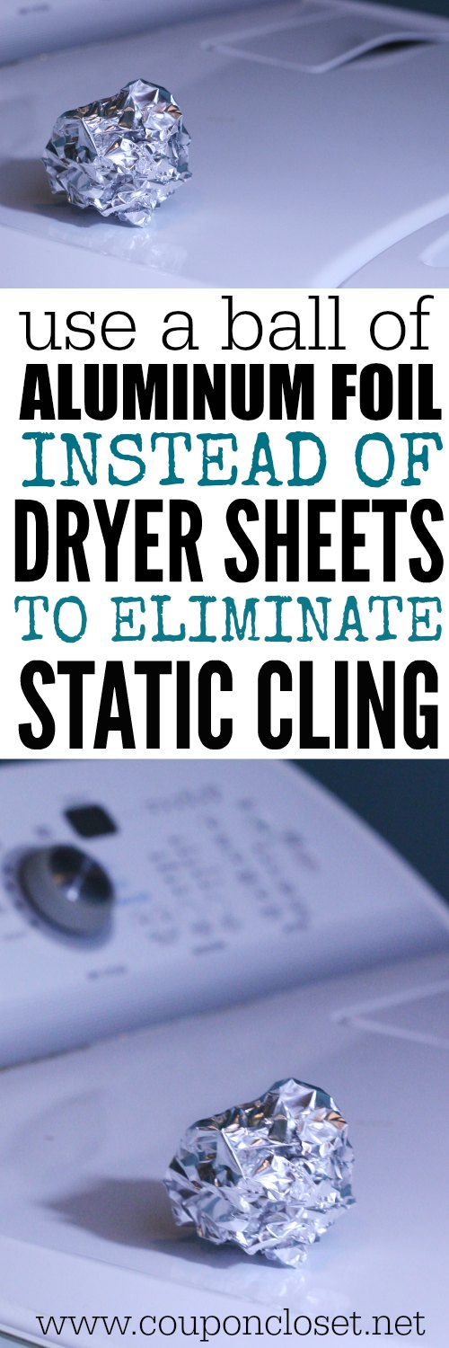 eliminate static cling with a ball of aluminum foil