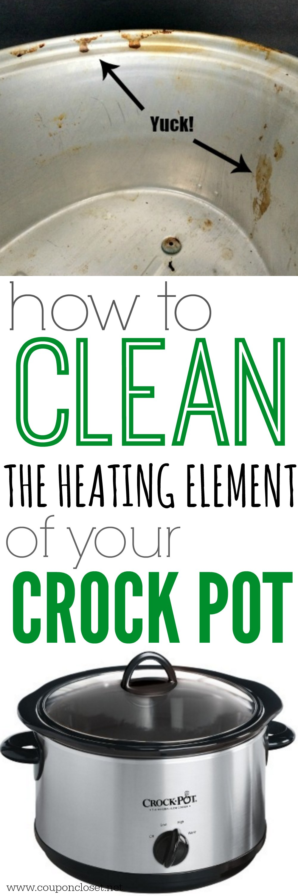 how to clean crock pot - the heating element
