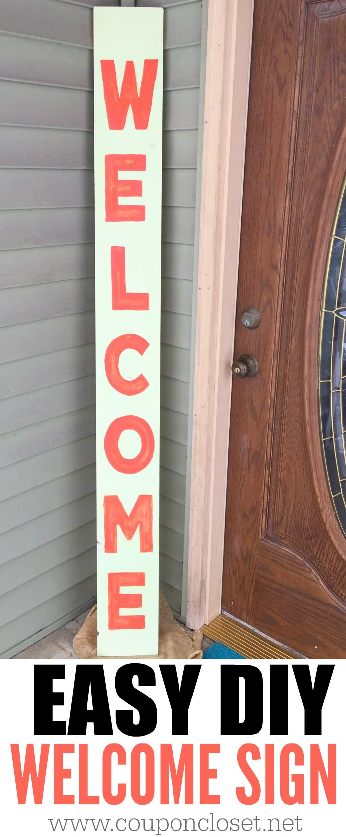 DIY WELCOME SIGN - Easy to make welcome banner. See our front porch welcome home banner. Painting words on wood is easy with this technique.