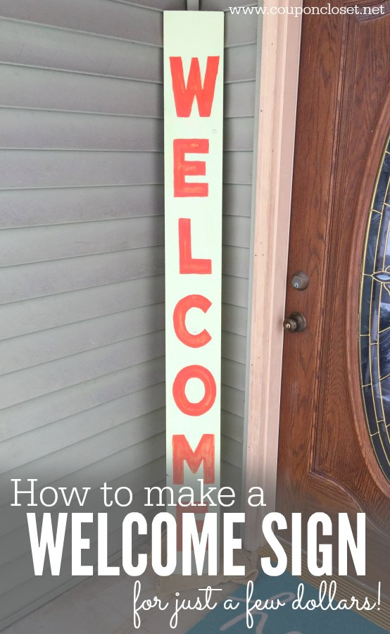 You are going to love this quick and easy DIY welcome sign. It is our front porch welcome banner. painting quotes on wood and painting words on wood is easy