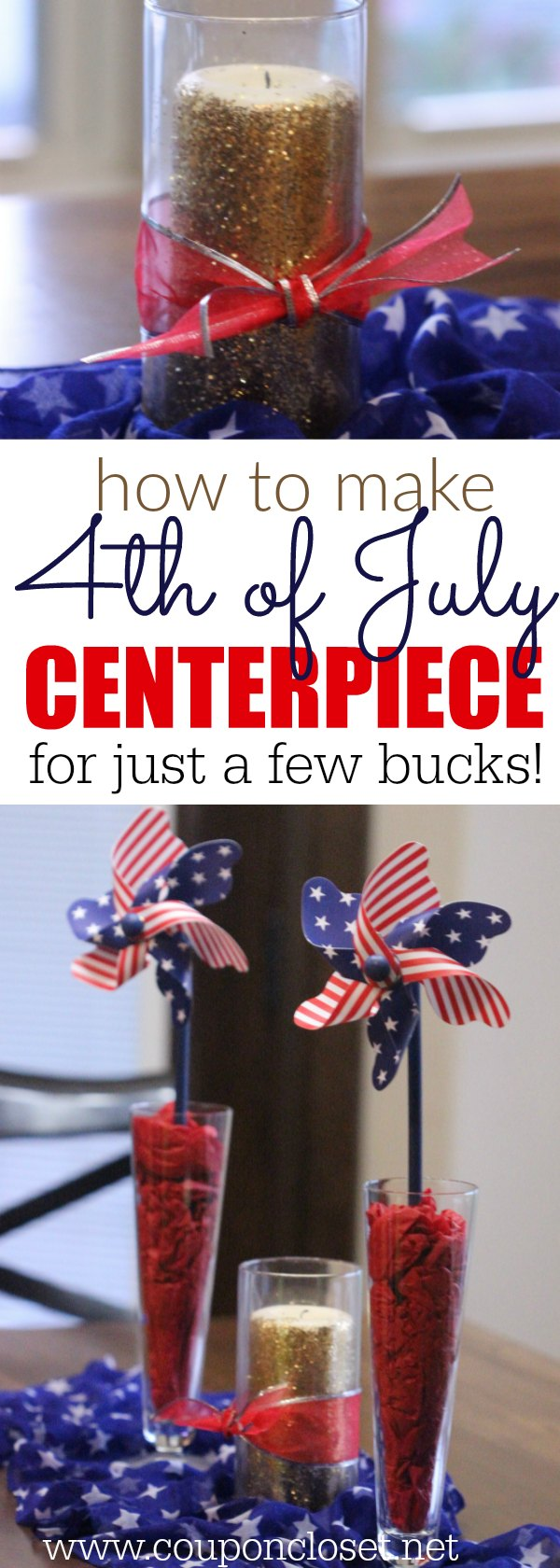 Try these frugal 4th of July Decorations. This easy 4th of july centerpiece is easy and simply beautiful. 4th of July decorations don't have to be hard. Decorations for Independence day.