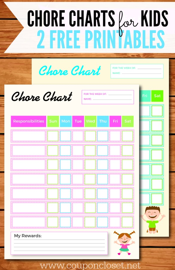 Free Printable Chore Charts For Kids  One Crazy Mom