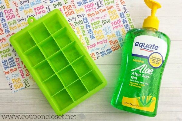 How to treat a bad sunburn- make aloe vera ice cubes to help itchy sunburns and treat a bad sunburn. Aloe Vera Ice Cubes are perfect for treating sunburn