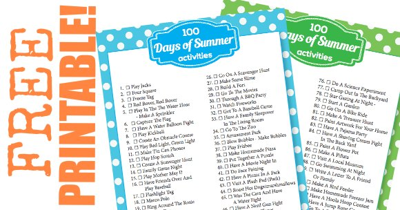 We have 100 days of kids summer activities. We even have a printable for your to check off fun things to do in the summer.