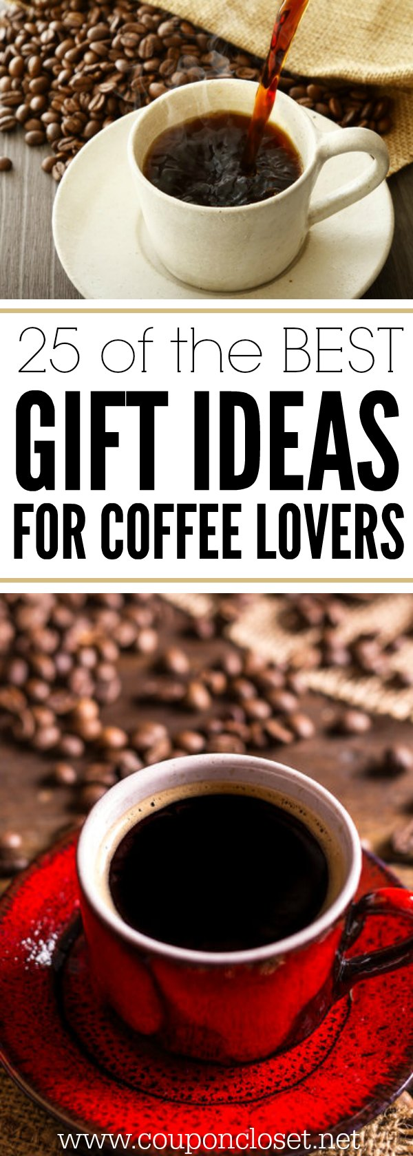 Here are 25 fun and frugal gifts for coffee lovers. These easy gift ideas for coffee lovers are sure to be perfect to make coffee gift baskets.