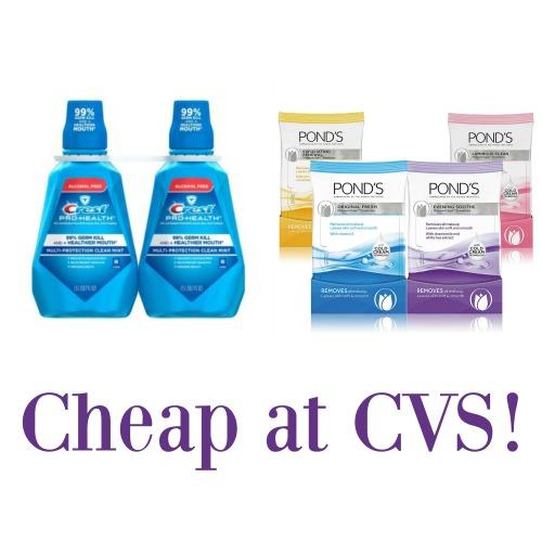 cheap at cvs  crest mouthwash and pond u0026 39 s moisture clean towelettes