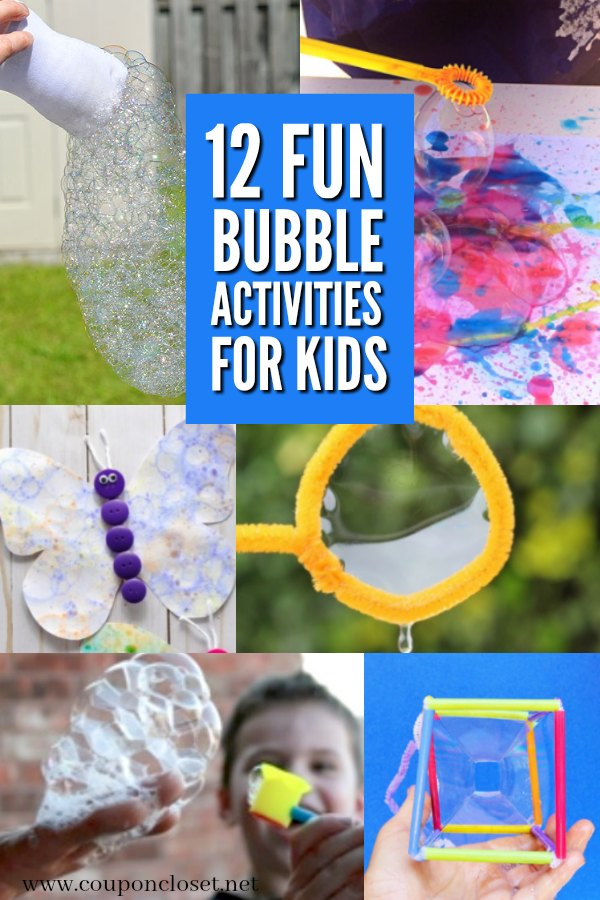 Take a look at these bubble activities for kids. 12 bubble activities for hours of bubble fun for kids. The perfect summer activity.