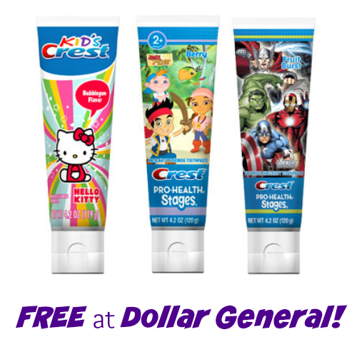 Crest Foods Company Mail: FREE Crest Kid's Character Toothpaste At Dollar General