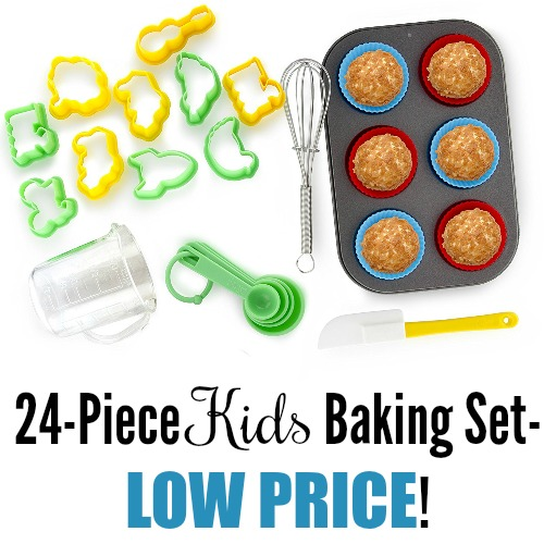 24 piece kids baking set only reg 34 coupon closet. Black Bedroom Furniture Sets. Home Design Ideas